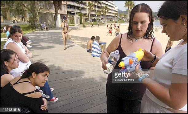 Obese teenagers get a second chance in Sanary Sur Mer France in May 2004 Hulya Julie Malika Jennifer and Alexandra on the beach of Bandol It is...