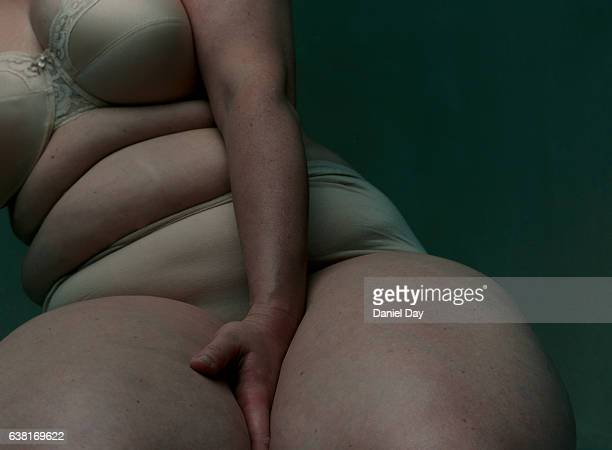 obese woman in her underwear - chubby stock photos and pictures