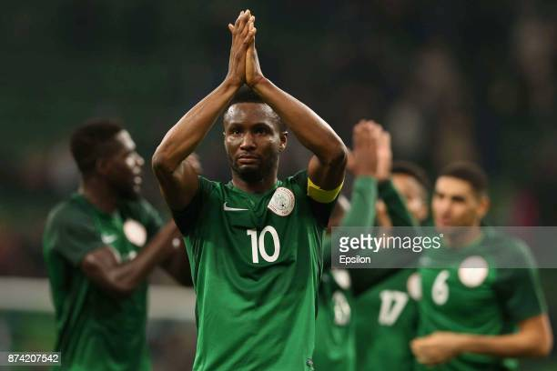 Obi Mikel of Nigeria celebrates after winning an international friendly match between Argentina and Nigeria at Krasnodar Stadium on November 14 2017...