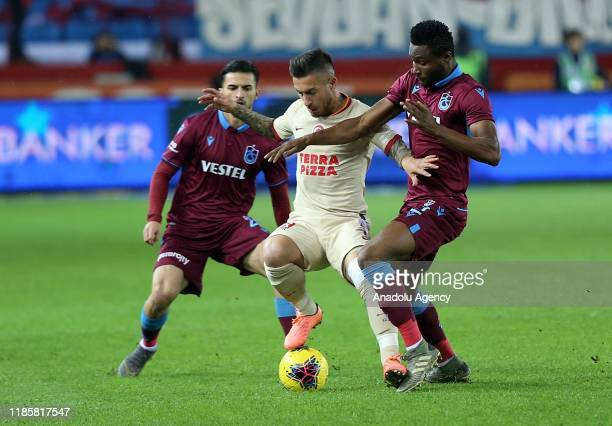 Obi Mikel of Trabzonspor in action against Adem Buyuk of Galatasaray during the Turkish Super Lig week 13 soccer match between Trabzonspor and...
