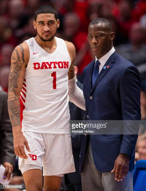 Obi Toppin and Head coach Anthony Grant of the Dayton Flyers are seen during the game against the Fordham Rams at UD Arena on February 1 2020 in...