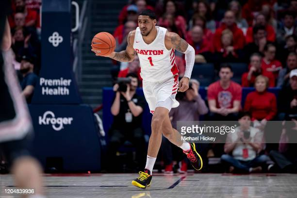 Obi Toppin of the Dayton Flyers brings the ball up court during the game against the Davidson Wildcats at UD Arena on February 28 2020 in Dayton Ohio