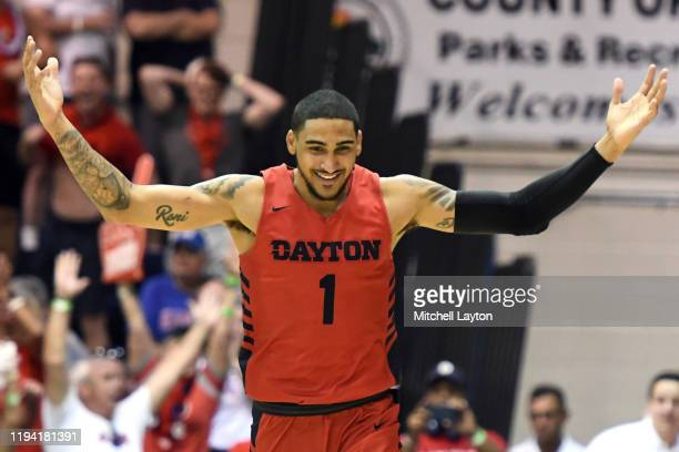 Obi Toppin of the Dayton Flyers celebrates a shot during a second round Maui Invitation game against the Virginia Tech Hokies at the Lahaina Civic...
