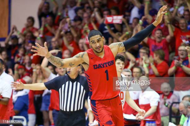 Obi Toppin of the Dayton Flyers celebrates after throwing down a dunk during the second half against the Virginia Tech Hokies at the Lahaina Civic...
