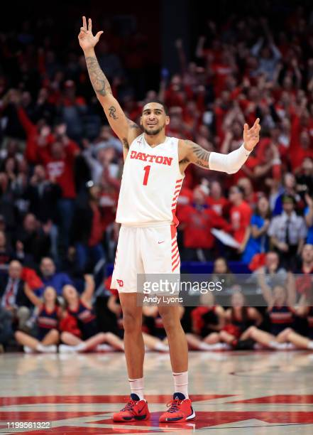 Obi Toppin of the Dayton Flyers celebrates in the game against the VCU Rams at UD Arena on January 14 2020 in Dayton Ohio