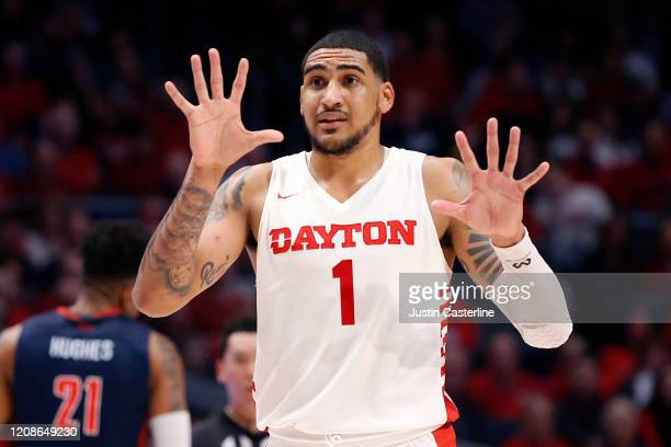 Obi Toppin of the Dayton Flyers directs his team in the game against the Duquesne Dukes at UD Arena on February 22 2020 in Dayton Ohio