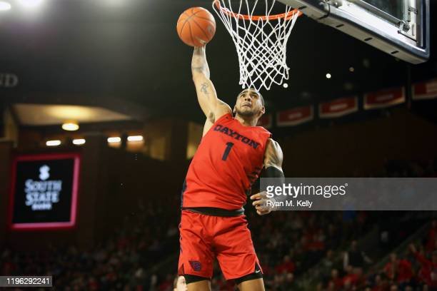 Obi Toppin of the Dayton Flyers dunks in the second half during a game against the Richmond Spiders at Robins Center on January 25 2020 in Richmond...