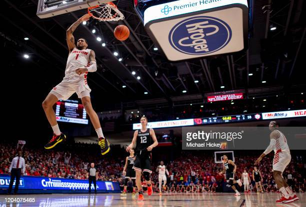 Obi Toppin of the Dayton Flyers dunks the ball during the second half against the Davidson Wildcats at UD Arena on February 28 2020 in Dayton Ohio