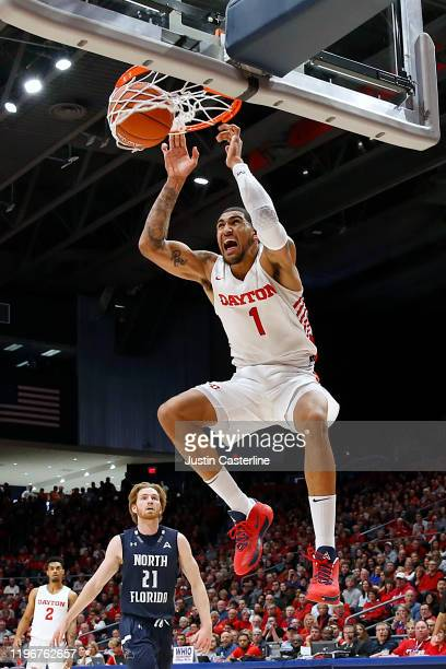 Obi Toppin of the Dayton Flyers dunks the ball in the game against the North Florida Ospreys during the second half at UD Arena on December 30 2019...