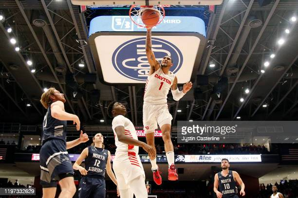 Obi Toppin of the Dayton Flyers dunks the ball in the game against the North Florida Ospreys at UD Arena on December 30 2019 in Dayton Ohio