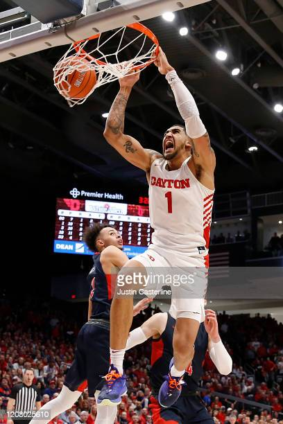 Obi Toppin of the Dayton Flyers dunks the ball in the game against the Duquesne Dukes during the second half at UD Arena on February 22 2020 in...