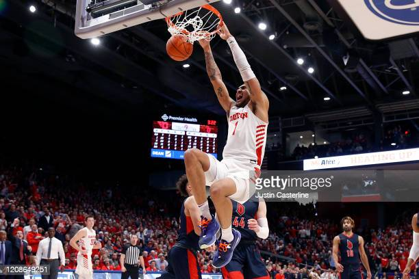 Obi Toppin of the Dayton Flyers dunks the ball in the game against the Duquesne Dukes at UD Arena on February 22 2020 in Dayton Ohio