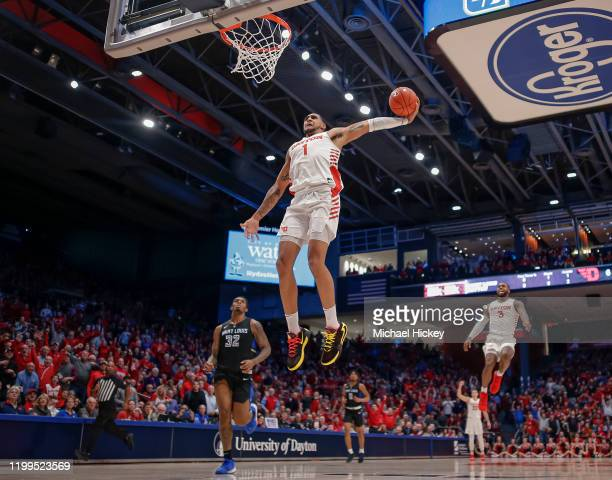 Obi Toppin of the Dayton Flyers goes up for a dunk during the first half against the Saint Louis Billikens at UD Arena on February 8 2020 in Dayton...
