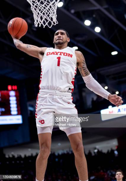 Obi Toppin of the Dayton Flyers goes up for a dunk during the game against the Davidson Wildcats at UD Arena on February 28 2020 in Dayton Ohio