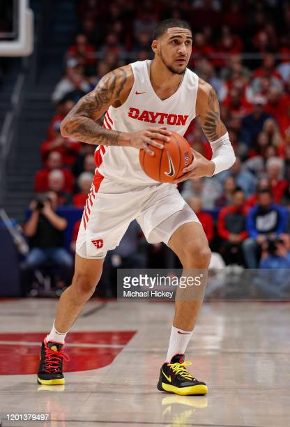 Obi Toppin of the Dayton Flyers holds the ball during the game against the Saint Louis Billikens at UD Arena on February 8 2020 in Dayton Ohio