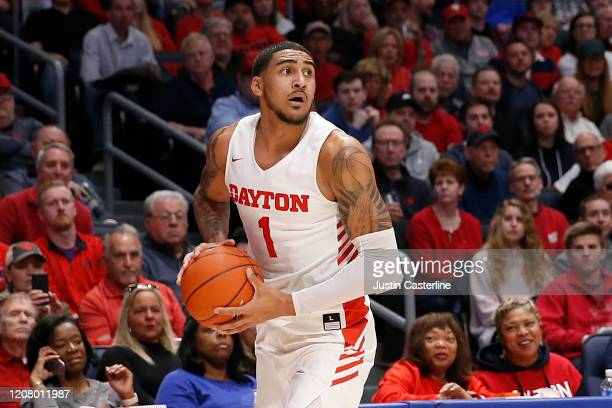 Obi Toppin of the Dayton Flyers looks to pass the ball in the game against the Duquesne Dukes at UD Arena on February 22 2020 in Dayton Ohio