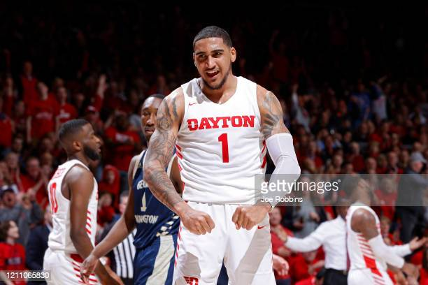 Obi Toppin of the Dayton Flyers reacts after a dunk in the second half of a game against the George Washington Colonials at UD Arena on March 7 2020...