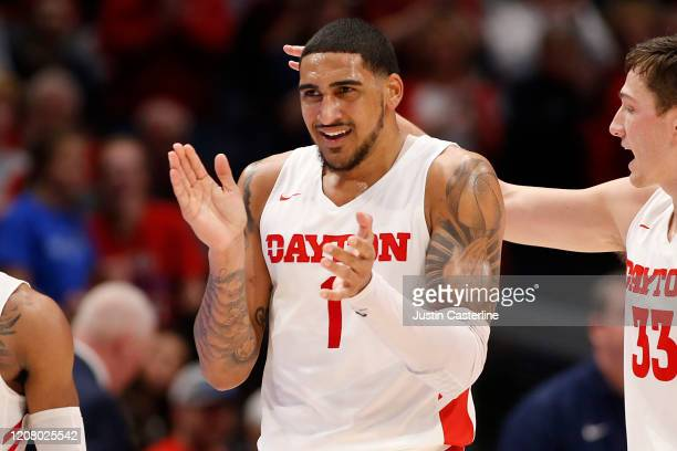 Obi Toppin of the Dayton Flyers reacts after a play in the game against the Duquesne Dukes during the second half at UD Arena on February 22 2020 in...