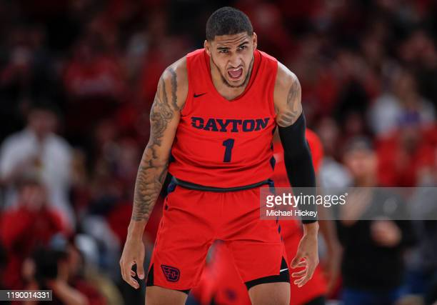 Obi Toppin of the Dayton Flyers reacts during the game against the Colorado Buffaloes at United Center on December 21 2019 in Chicago Illinois