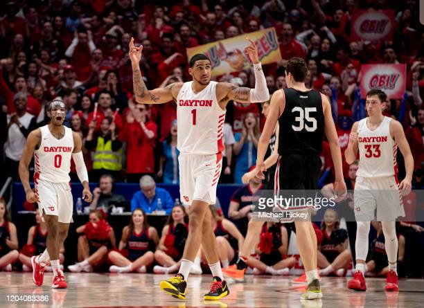 Obi Toppin of the Dayton Flyers reacts during the second half against the Davidson Wildcats at UD Arena on February 28 2020 in Dayton Ohio
