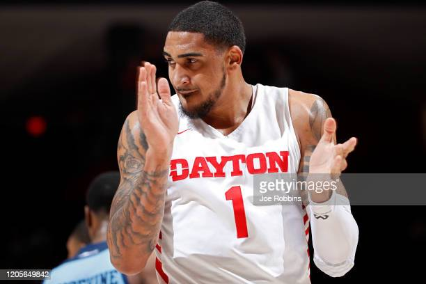 Obi Toppin of the Dayton Flyers reacts in the first half of a game against the Rhode Island Rams at UD Arena on February 11 2020 in Dayton Ohio...