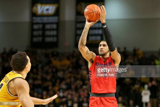 Obi Toppin of the Dayton Flyers shoots in the first half during a game against the VCU Rams at Stuart C Siegel Center on February 18 2020 in Richmond...