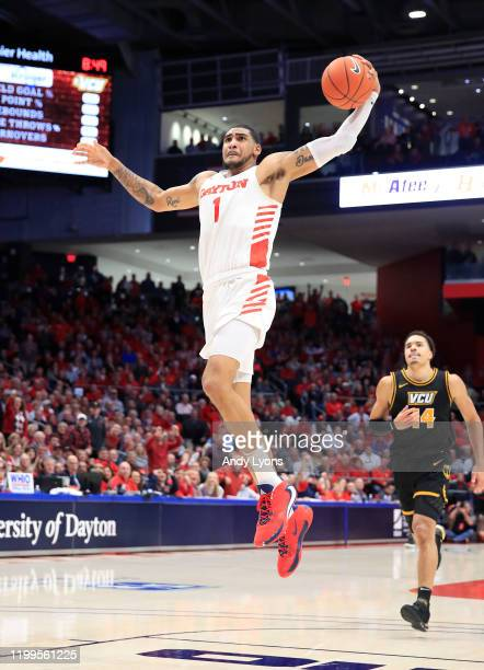 Obi Toppin of the Dayton Flyers shoots the ball against the VCU Rams at UD Arena on January 14 2020 in Dayton Ohio