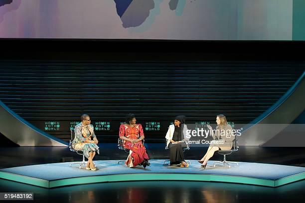 Obiageli Ezekwesili Esther Ibanga Iman Elman and Margaret Brennan speak onstage at Tina Brown's 7th Annual Women In The World Summit Opening Night at...