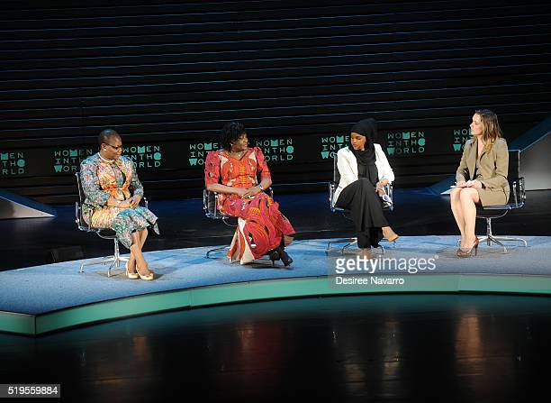 Obiageli Ezekwesili Esther Ibanga Iman Elman and Margaret Brennan speak onstage during the 7th Annual Women In The World Summit Opening Night at...