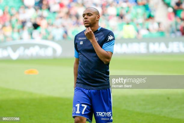 Obiang Johann of Troyes during the Ligue 1 match between AS Saint Etienne and Troyes AC at Stade GeoffroyGuichard on April 22 2018 in SaintEtienne