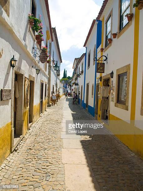 obidos cityscape  - leiria district stock photos and pictures