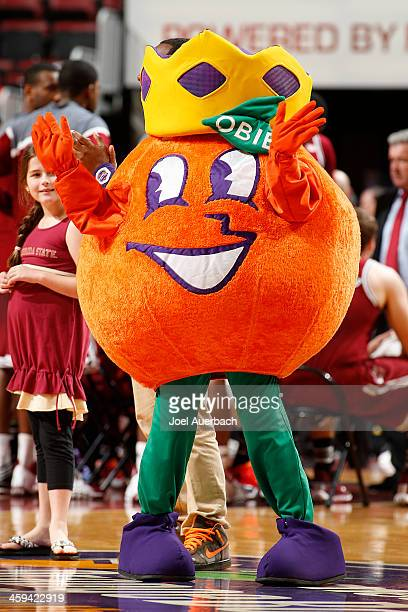 'Obie' the Orange Bowl mascot performs during a break in action between the Florida State Seminoles and the Massachusetts Minutemen during the...