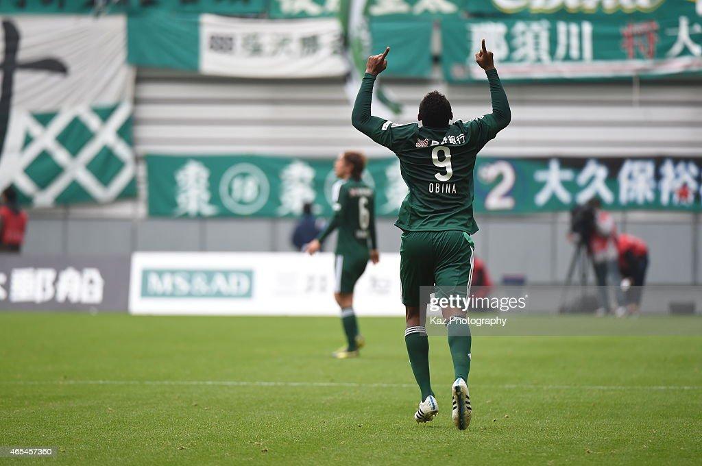 Obina of Matsumoto Yamaga celebrates his opener during the J. League match between Nagoya Grampus and Matsumoto Yamaga at Toyota Stadium on March 7, 2015 in Toyota, Japan.
