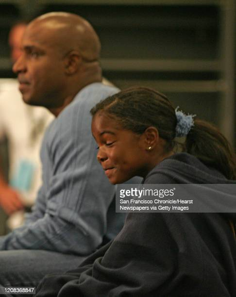 {object name} Aisha Bonds Barry Bonds daughter was one happy girl during the press conference for her father Giant beat the Oakland A's 42 at McAfee...