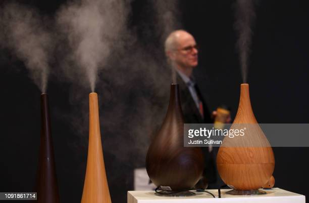 Objecto humidifiers are displayed at the Objecto booth during CES 2019 at the Las Vegas Convention Center on January 9, 2019 in Las Vegas, Nevada....