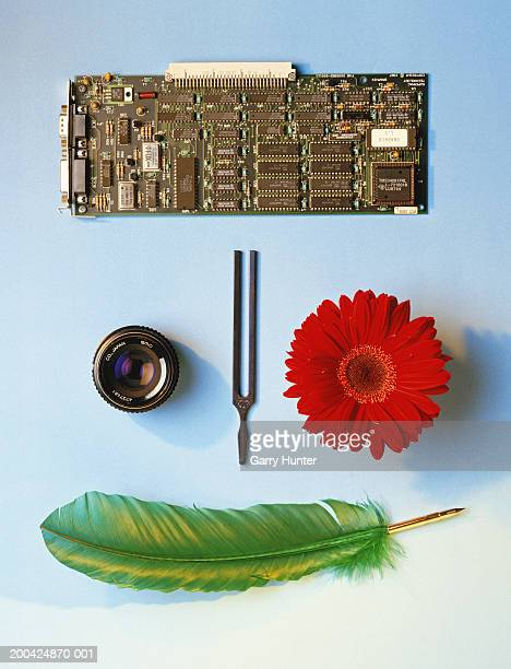 Objects arranged to form a face, overhead view