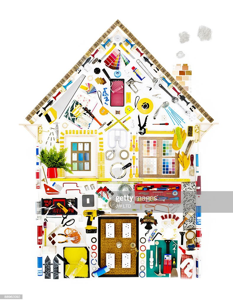 DIY objects in shape of house : Stock Photo