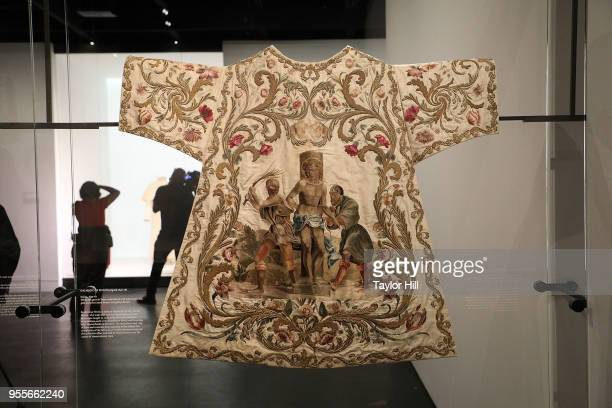 Objects on display during the press preview for Heavenly Bodies Fashion the Catholic Imagination at The Metropolitan Museum of Art on May 7 2018 in...