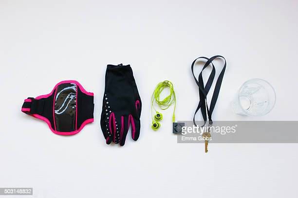 Objects used when going running laid out neatly