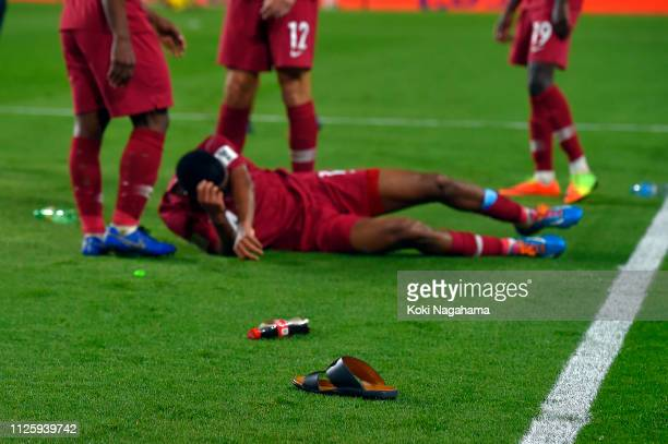 Objects were thrown on to the pitch after the AFC Asian Cup semi final match between Qatar and United Arab Emirates at Mohammed Bin Zayed Stadium on...