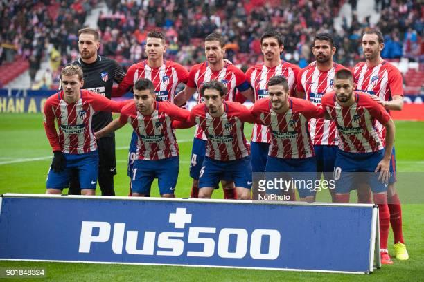 Oblak Lucas Hernandez Gabi Savic Diego CostaCarrasco Antonie Griezmann Angel Correa Vrsaljko Koke Godin during the match between Atletico of Madrid...