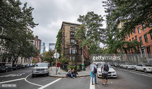 oblique crossing in residential area, manhattan, new york city, usa - east village stock pictures, royalty-free photos & images