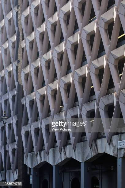 Oblique exterior facade elevation. Welbeck Street Car Park, London, United Kingdom. Architect: Michael Blampied and Partners, 1070.