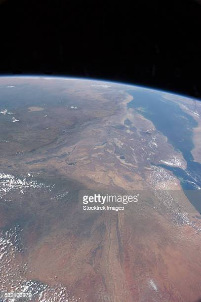 oblique photo of ethiopia and part of the red sea as viewed from space. - horn of africa stock pictures, royalty-free photos & images