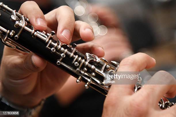 oboe hands - oboe stock-fotos und bilder