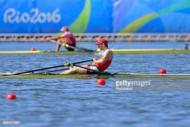 Obreno Hannes of Belgium competes during the Men's Single Sculls Final A at the Lagoa Stadium during the Rio 2016 Summer Olympic Games on August 13...