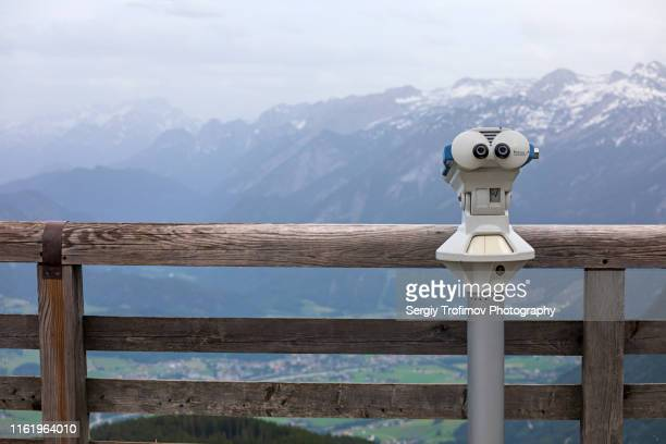 observation binoculars and beautiful mountain view - observation point stock pictures, royalty-free photos & images