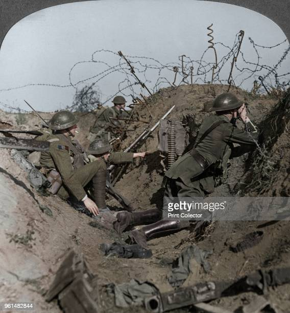 Observation officer and signallers keep a sharp lookout, St Quentin, France, World War I, 1914-1918. Stereoscopic card detail. . Artist Realistic...
