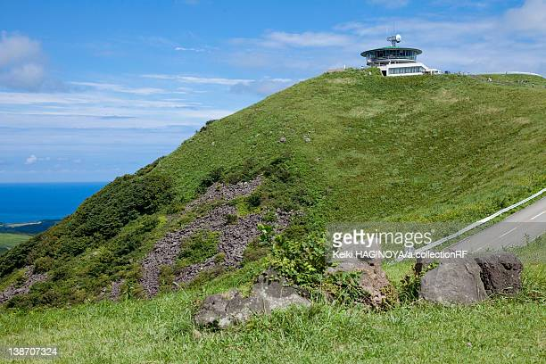Observation place at the top of Mt. Kanpuzan and Sea of Japan in the background