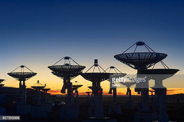observatory antenna in the sunset - receiver stock pictures, royalty-free photos & images